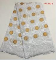 Wit zwitserse kant stof met goud grote stippen patroon 100% katoen 5 yards/pcs voor uniform naaien Nov-11-2017
