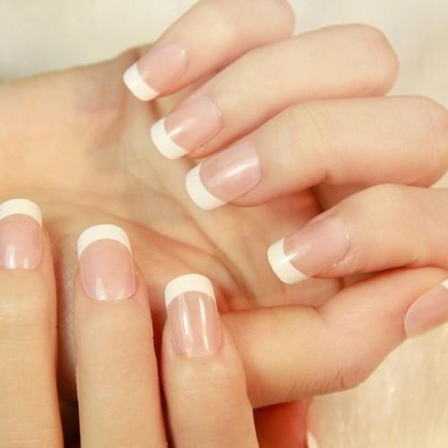 Fashion style 500pcs nail tips natural color white full cover false ...