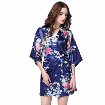 Navy Blue Women Robe Kimono Female Faux Silk Bathrobe Gown Summer Sleepwear Peafowl&Flower Nightwear Size S M L XL XXL XXXL pinkwin blue xxxl
