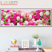 Home Decor Diamond Painted Rhinestone Cross Embroidered Rose 3D Diy Flower Mosaic Wall Decor.L143