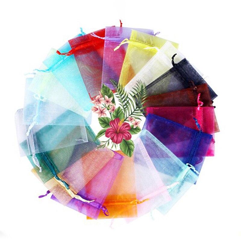 KEJIALAI 5X7 7x9 9x12 10x15cm 50pcs 17 Colors Jewelry Bag Wedding Gift Organza Jewelry Bag Display Packaging Jewelry Pouches