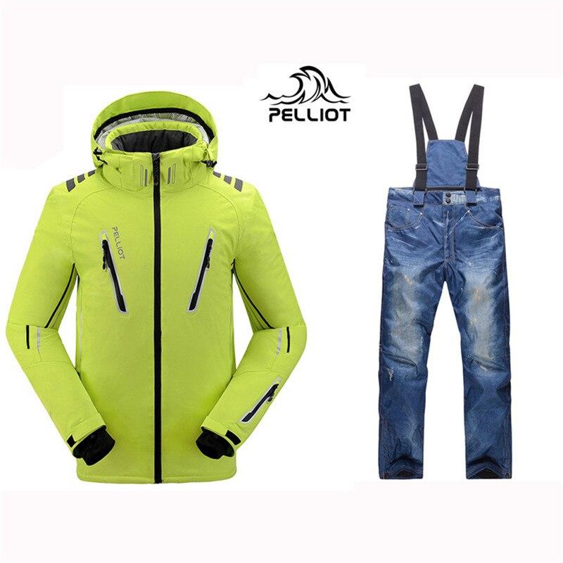 2018 Pelliot Mâle Ski Costumes Veste + pantalon Hommes de, respirant Thermique Cottom rembourré Snowboard De Ski Ski Hommes costume Livraison gratuite