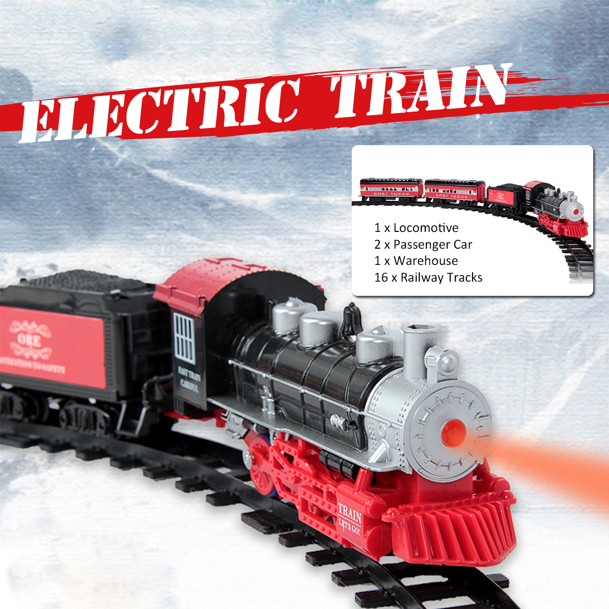 Smoke Light Simulation Sound Effect Classical Steam <font><b>Train</b></font> Assembled Electric Rail Car Track Toys image