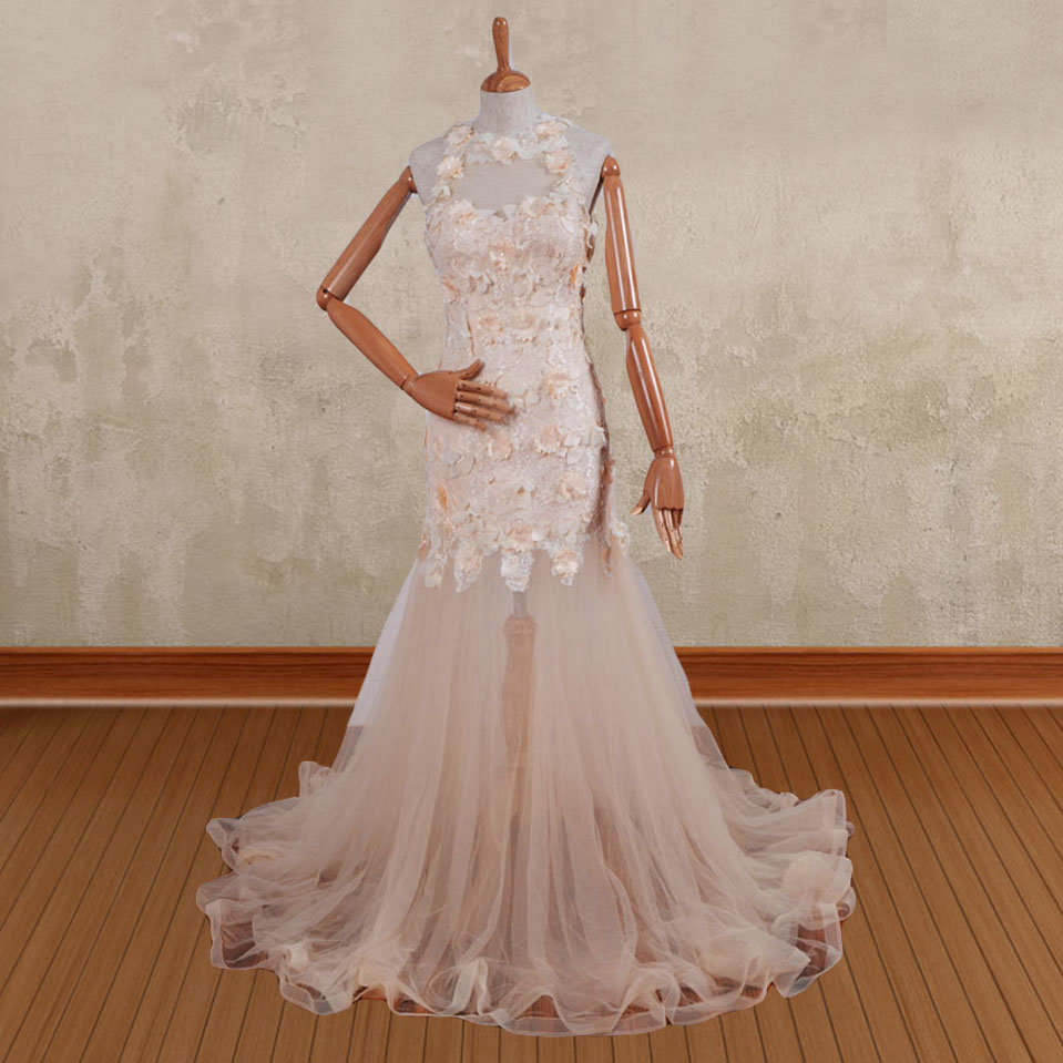 Online buy wholesale themed wedding dresses from china for Flowers for champagne wedding dress