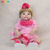 23'' Doll Babies Reborn Silicone Vinyl Full Body Baby Girl Toys Newborn Dolls Playmates For Children Birthday Gift New Arrival
