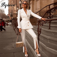 Bqueen 2019 Fashion V Neck Sexy Business Pant Suits Set Formal Women OL Elegant Sexy Pieces Pant Suit Sets