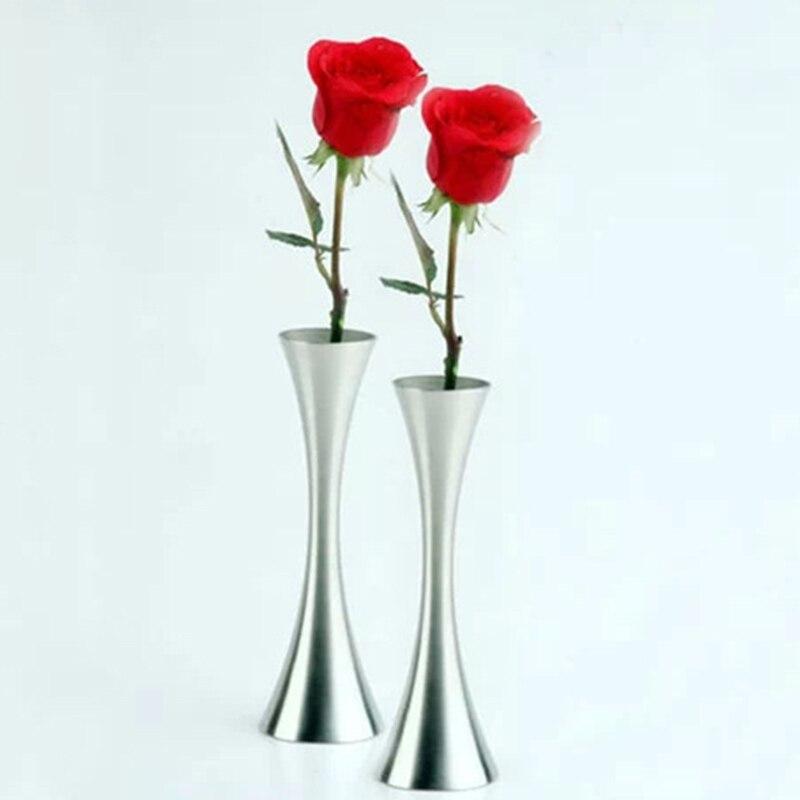 2015 fashion stainless steel flower vase thin waist small desktop home decorative jardiniere single vase flower girl friend gift