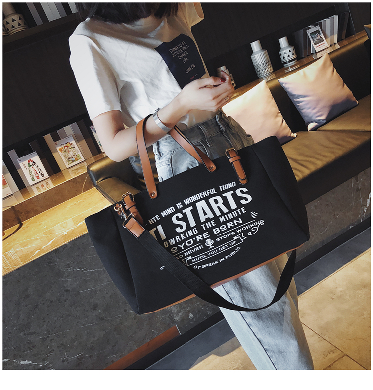 Luxury Ladies Bags Canvas Fashion Large Capacity Tote Bags Letter Shoulder Messenger Bags for Women 2018 Casual Tote Luis Vuiton 10