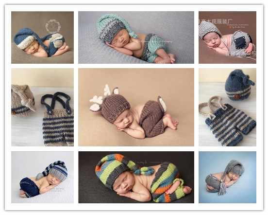 Newborn Costume Outfit Clothes Infant Girls Boys Hat Pant Crochet Knit Clothing Photo Shoot Hat For Baby Baby Photography Props