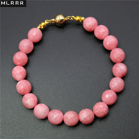 Vintage Classic Lab Created Natural Stone Jewelry Romantic Pink Rhodochrosites Beaded Chain Strand Bracelets 20 5cm