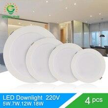 Зеленый глаз светодиодный светильник 3 Вт 5 Вт 7 Вт 12 Вт 18 Вт точечный светодиодный светильник переменного тока 220 в 240 В Светодиодная лампа 2835SMD ультра тонкий круглый панельный светильник для спальни