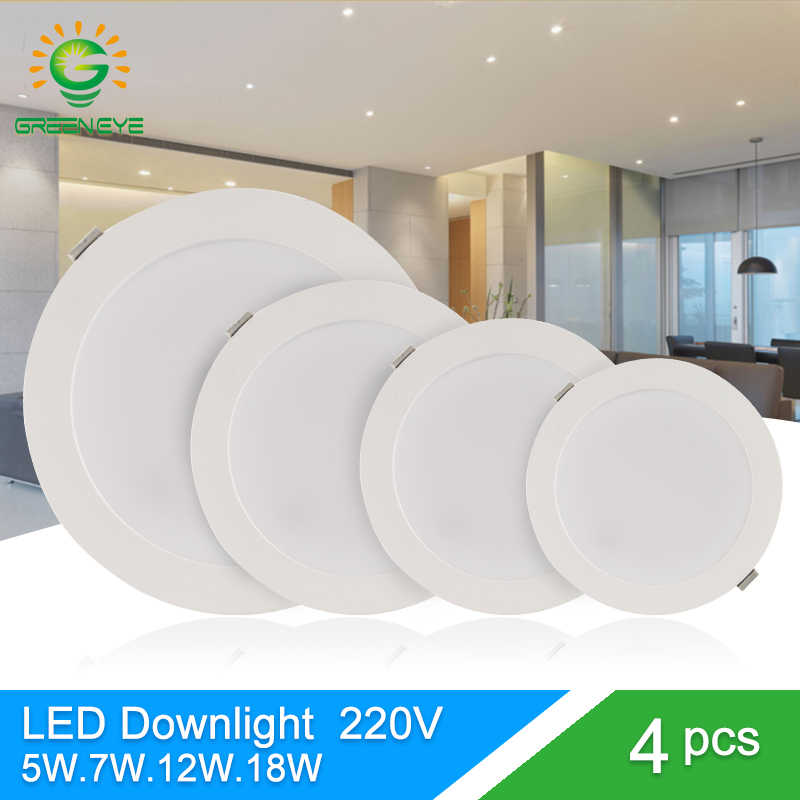 Green Eye led downlight 3w 5w 7w 12w 18w spot led downlight AC 220V 240V led lamp 2835SMD Ultra thin round panel light bedroom