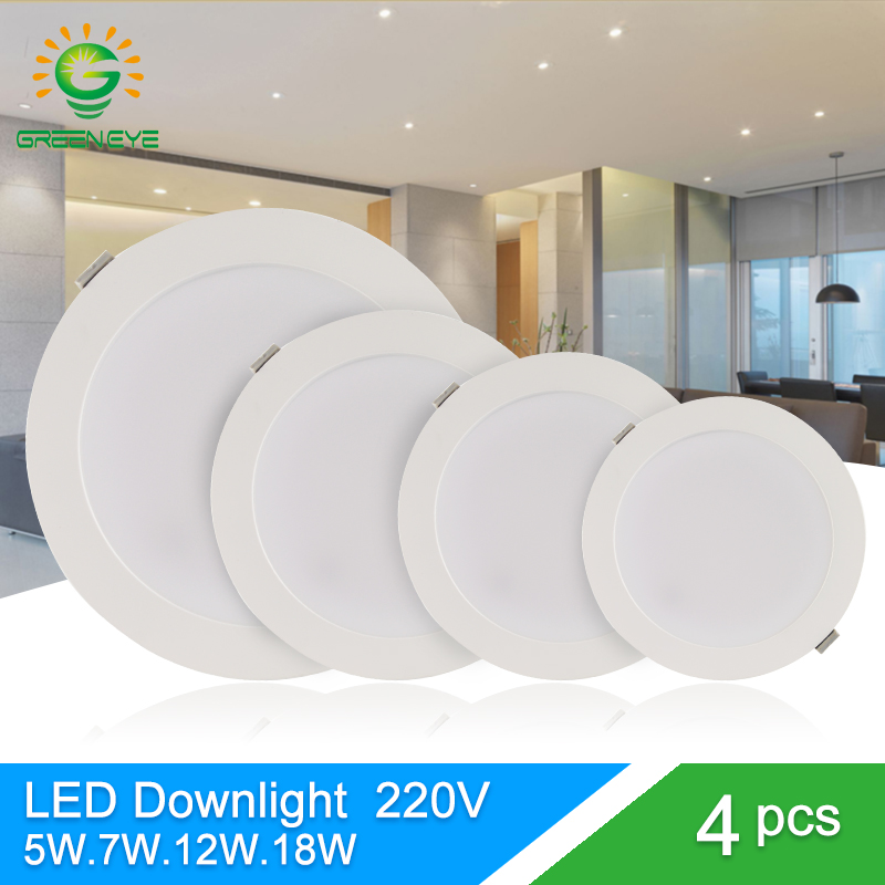 Green Eye led downlight 3w 5w 7w 12w 18w spot led downlight AC 220V 240V led lamp 2835SMD Ultra thin round panel light bedroom стоимость