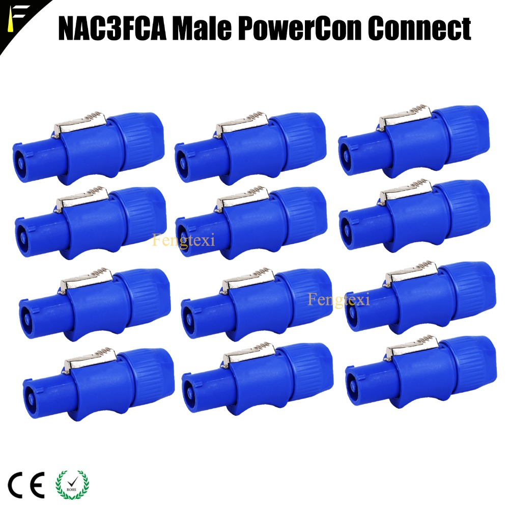 12pieces NAC3FCA Male 3-Pin PowerCon Power In Connector Plug 250V/20A For Refitting Moving Head Light LED Panel Power Cable