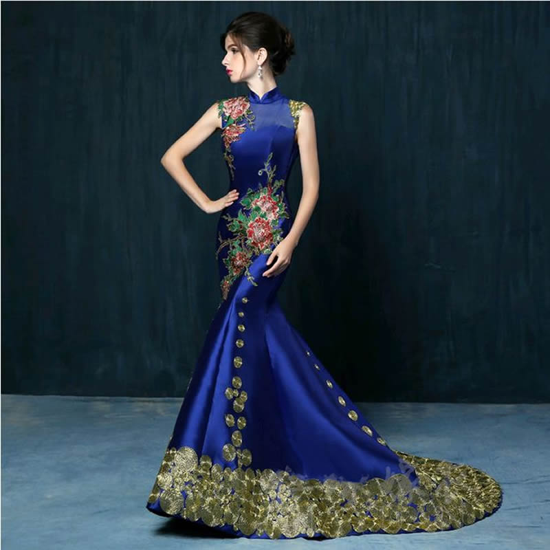 Chinese Wedding Gowns: 2016 Luxury Royal Blue Embroidery Tailing Evening Dress