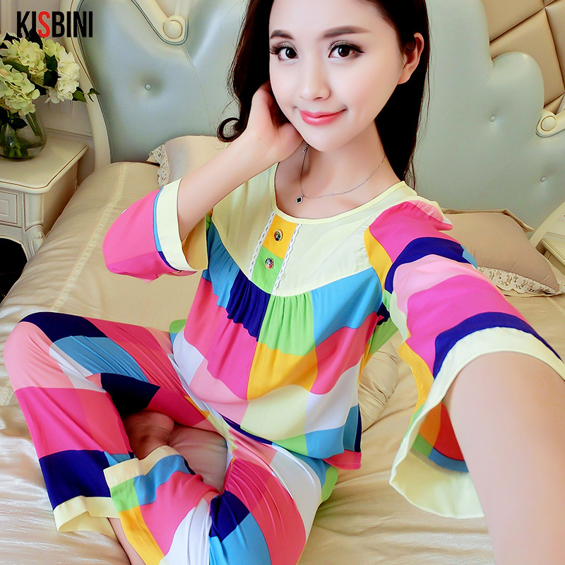 KISBINI Women Autumn Pajamas Sets Cotton Print Women Long-Clothes Comfortable Breathable Homewear Plus Size