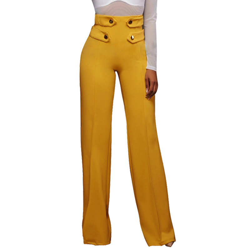 High Waist   Wide     Leg     Pants   Women Fashion Spring Autumn Button Loose Casual Straight   Leg     Pants   Black Trousers Ladies Palazzo   Pants