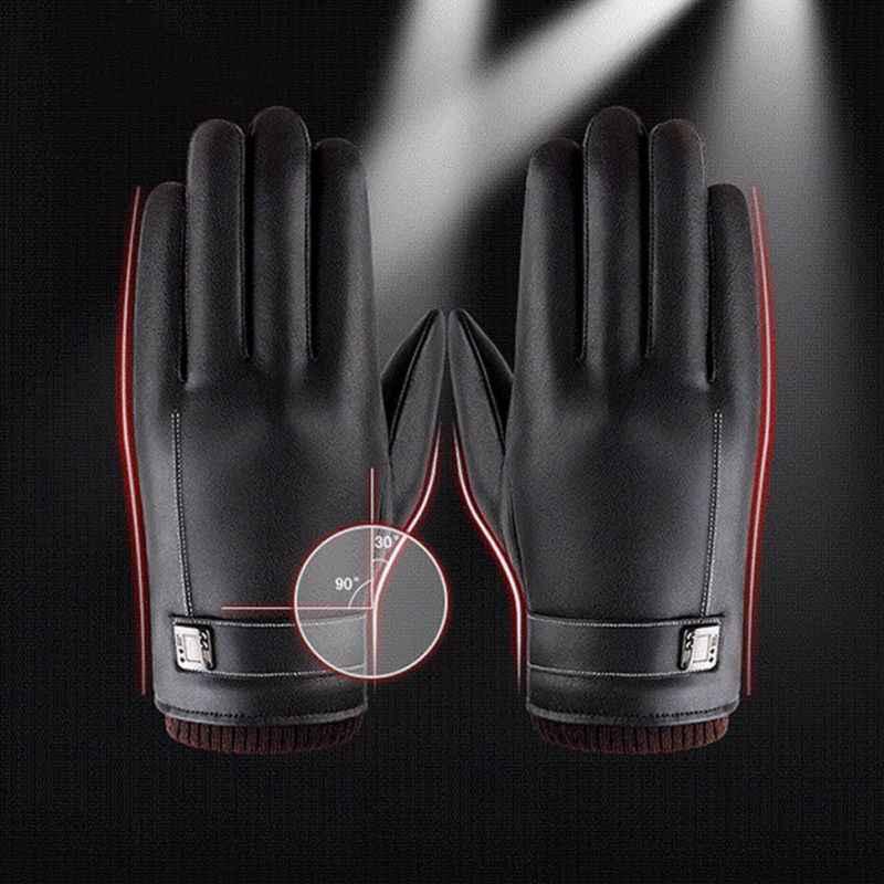 36a48e5057a89 ... Men Women Warm Winter Gloves Washed Leather Black Leather Gloves Male  Leather Gloves Winter Gloves Men ...