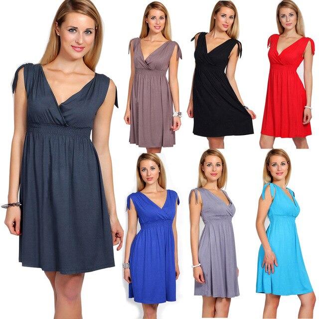 Wholesale Women s Maternity Breastfeeding Flattering Pregnant Women Summer V -Neck Skater Dress Baby Shower Sleeveless Dress e0dbdb303c