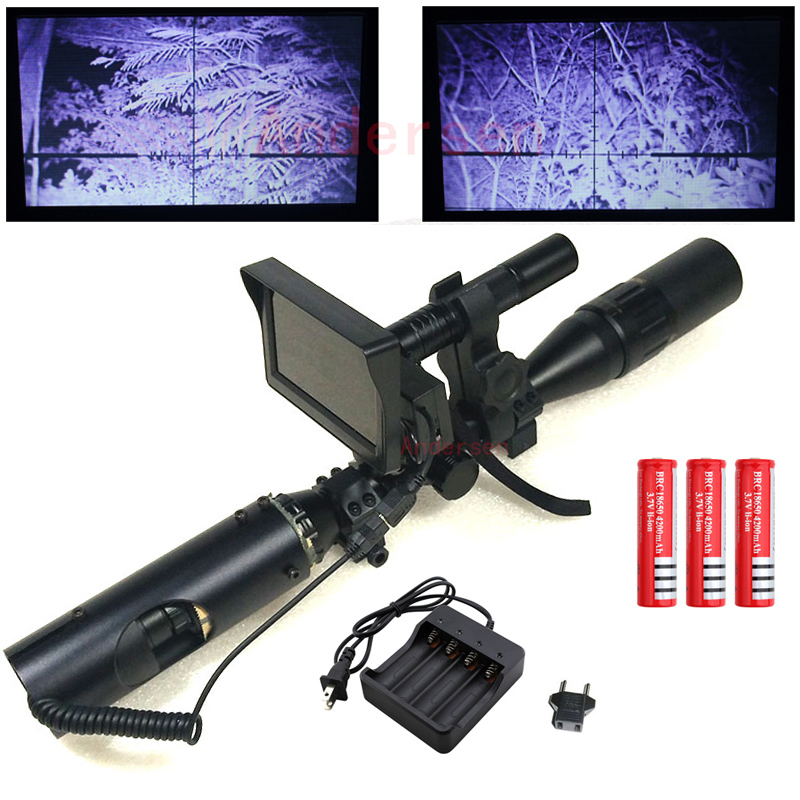 Hot Outdoor Hunting Tactical Digital Infrared Kikare Teleskop med Batteri Monitor och ficklampa för Riflescope