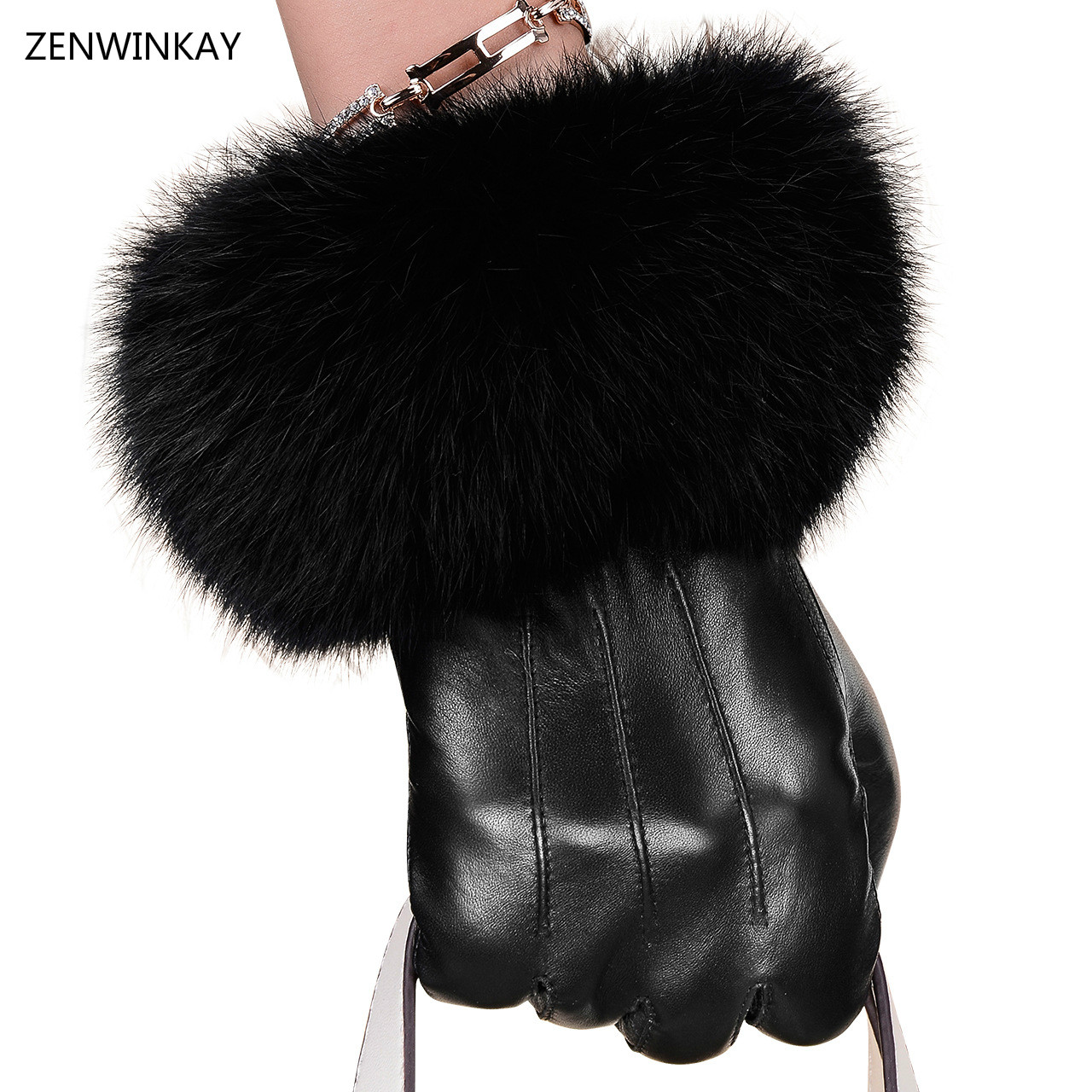 Womens leather touchscreen gloves - 2017 Fashion Women Leather Gloves Touch Screen Genuine Leather Ladies Gloves Touchscreen Women Winter Black Gloves