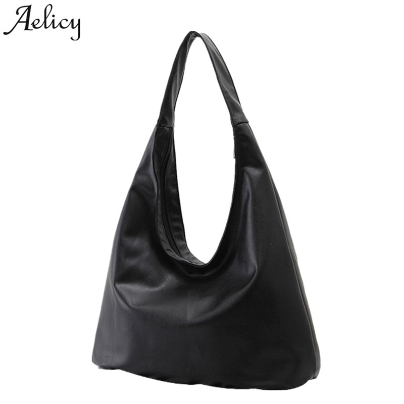 Aelicy brand pu leather handbags women large tote bag classic black shoulder bags ladies handbags casual fashion soft for girls herald fashion 2017 large capacity women shoulder bag high quality leather handbags for women brand ladies tote bag pu pouch