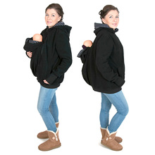 Long Sleeve Hoodies Sweatshirt Baby Carrier Maternity Clothes for Pregnant Women Kangaroo Zipper Coat Hoodies w/ Baby Carry Bag