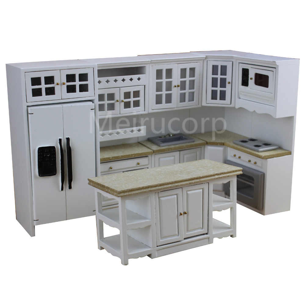 Dollhouse 1/12 scale miniature furniture Model kitchen 6pcs set Fridge Gas stoves 12340