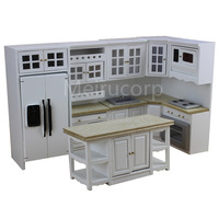 Dollhouse 1/12 scale miniature furniture Model kitchen 6pcs set Fridge Gas stoves 12340