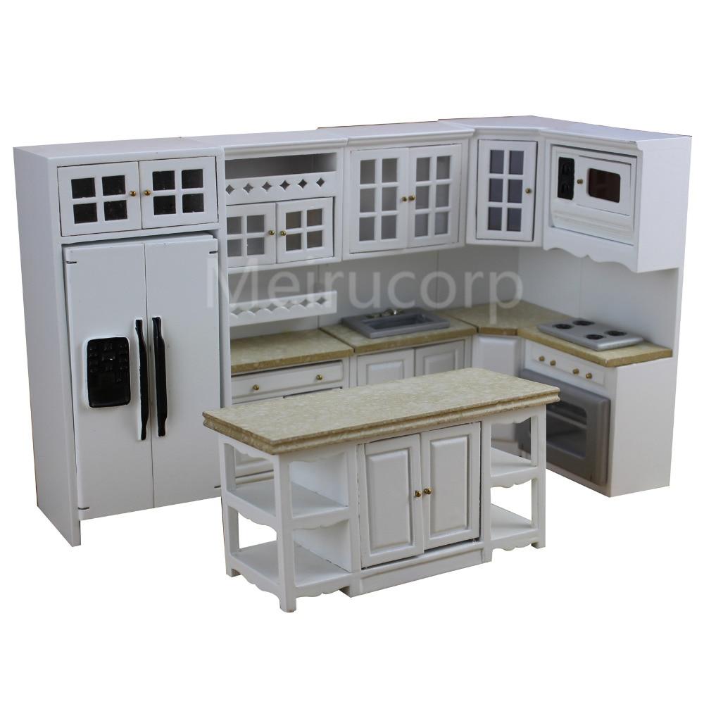 1//12Scale Dollhouse Miniature Kitchen Funiture Cabinet Refrigerator Set