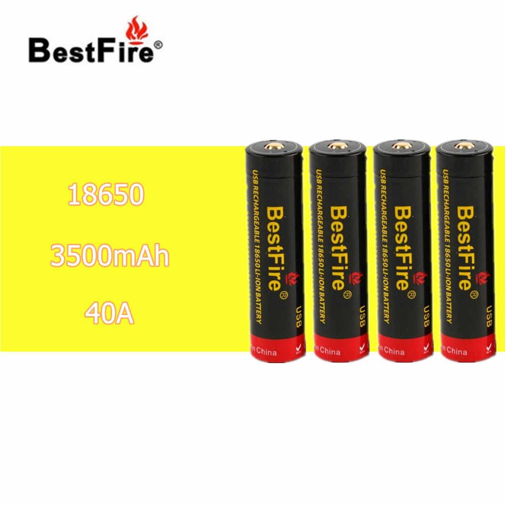 4 sztuk BestFire 3.7 V akumulator bateria 3500 mAh 40A z wbudowany Port Micro USB zestaw's postawy polityczne w ICR18650 VTC6 B014 vape obcych AL85