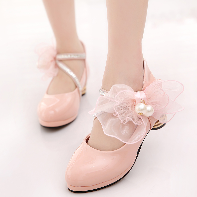 dress shoes for girls pink white black children's faux leather dance party pearls big bow princess shoes for kids 2017 2016 children princess sandals kids girls wedding shoes high heels girls dress shoes party shoes for girls pink blue gold