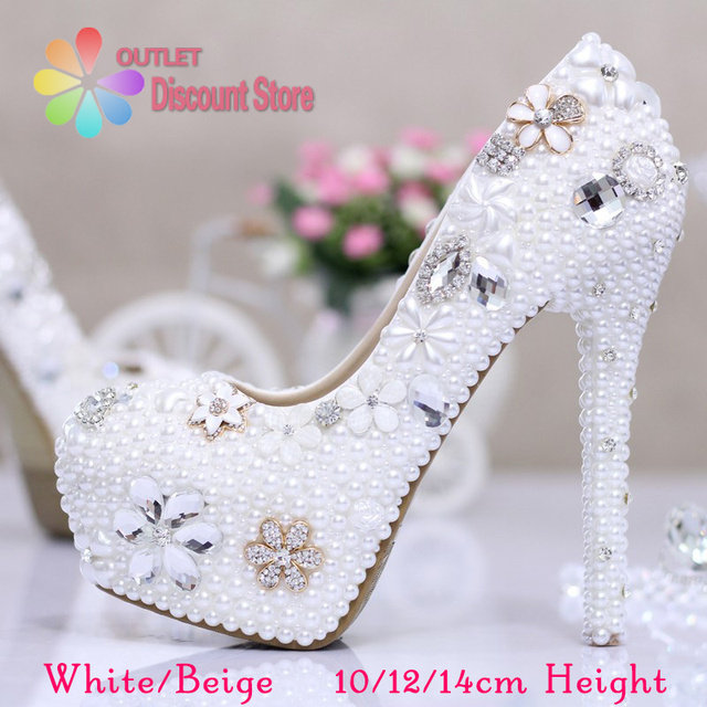Best Quality Luxury Cinderella Wedding Shoes Bridal Crystal High Heels Prom White Ivory Glitter Pearl Rhinestone