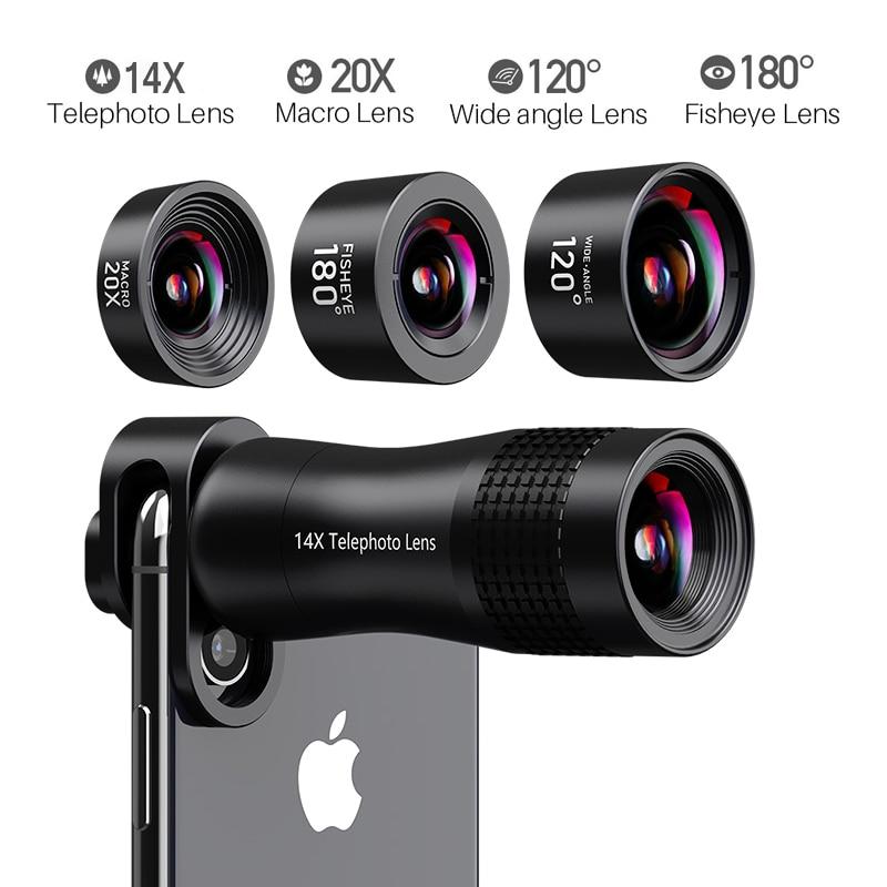 Lente do telefone 20X 14X Grande Angular Telefoto Lentes Macro Lente Olho de peixe para o iphone Xs Max X 8 7 For Huawei piexl 2 Para Samsung