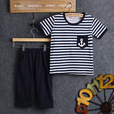 2016 2pcs baby set!!Baby Boys short sleeve summer Cool Sailor striped T-shirt +blue Pants for age 2~7Y 2pcs children outfit clothes kids baby girl off shoulder cotton ruffled sleeve tops striped t shirt blue denim jeans sunsuit set