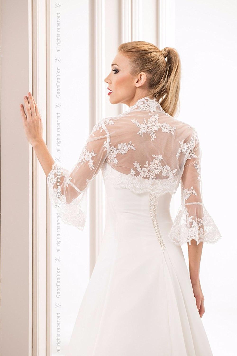 2017 Wedding Jacket Appliqued Long Sleeve Bolero women Cheap For Bridal Wrap Mariage Free Shipping in Wedding Jackets Wrap from Weddings Events