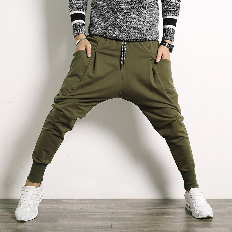 Hip Hop Harem Pants Men Cotton Streetwear Casual Trousers Solid Jogger Pants Side Pocket Men Sweatpants