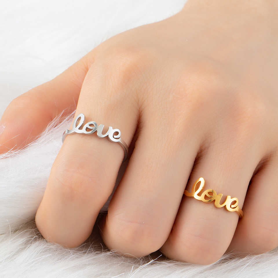 Fashion Hot Unique Letter LOVE Stainless Steel Golden Silver Ring for Couples and Woman Engagement Party jewelry Gift accessory