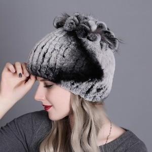 Image 4 - Nón nữ Mùa Đông Nữ Nữ đi Thật 100% Rex Thỏ Cáo Mũ Lông Thú Rex Lông Thỏ Mũ nữ mùa đông Ấm Mũ Đợi Đầu Đa Năng