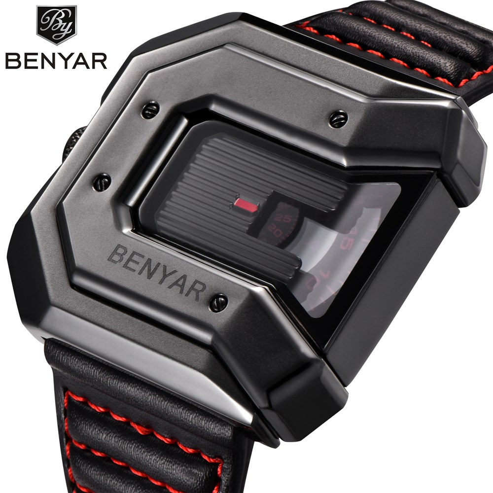 BENYAR Men Watch Top Brand Luxury Square Quartz Sport Watch Big Dial Watch Male Clock hodinky relogio masculino saat environmentally friendly pvc inflatable shell water floating row of a variety of swimming pearl shell swimming ring