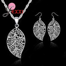 "Classic Jewelry Best Genuine 925 Sterling Silver Jewelry Sets leaves Earring Hook And Leaf Pendant Necklaces+18"" Singapore Chain(China)"