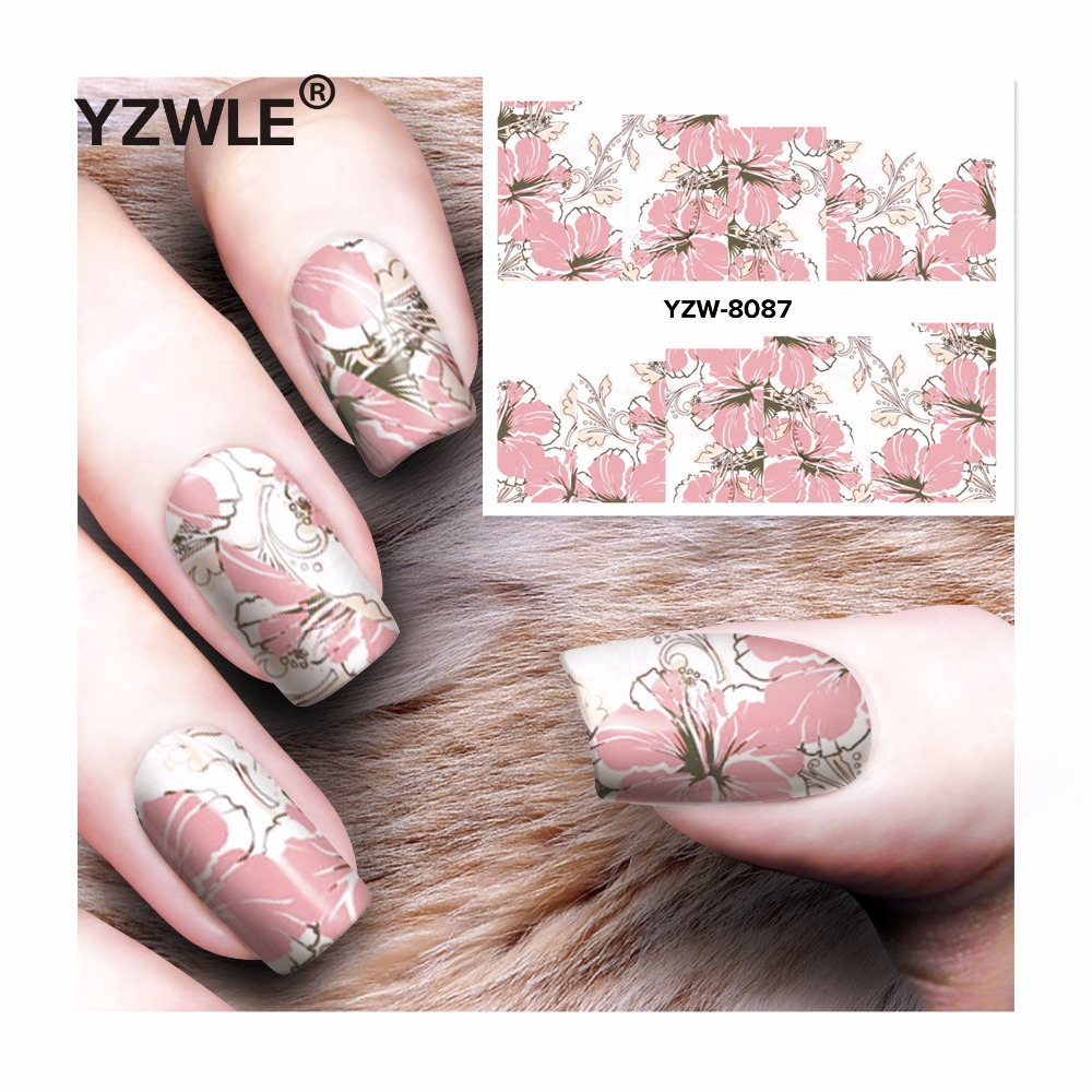 YZWLE 1 Sheet DIY Decals Nails Art Water Transfer Printing Stickers Accessories For Manicure Salon  YZW-8087 yzwle 1 sheet nail art stickers animal pattern 3d mysterious black cat designs water transfers decals diy decoration accessories