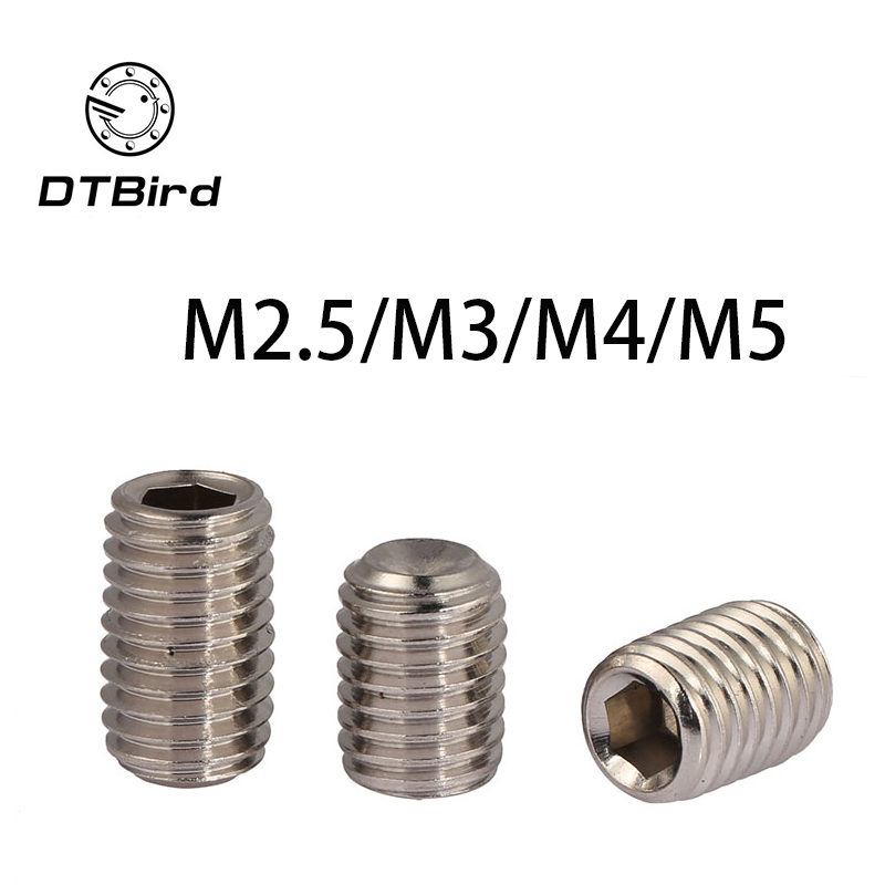 Free shipping DIN916 12.9 carbon steel concave set screws hex socket Chimi M2.5 M3 M4 M5 screw headless Top wire machine 2017 105pcs set metric m3 screws and bolts hex steel kit hex m3 screw nuts carbon black box free shipping