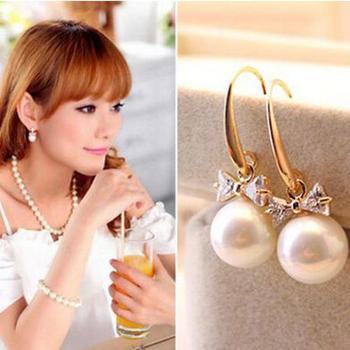 Korean High-end Fashion Charm Harmonie Zircon Circle Imitation Pearl Bow Earrings Female Jewelry Wholesale  Rhinestone Earing Чокер