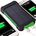 Солнечная Энергия Банк 20000 мАч Dual USB Порт Открытый Водонепроницаемый Банк силы со СВЕТОДИОДНОЙ Подсветкой компаний Солнечное Зарядное Устройство для iPhone iPad