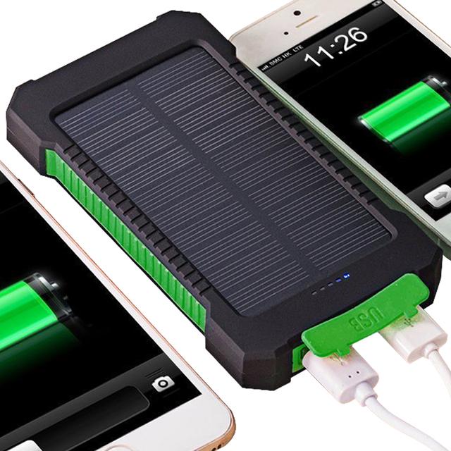 Banco energia solar 20000 mah dual usb porta compa carregador solar ao ar livre à prova d' água power bank com luz led para iphone ipad