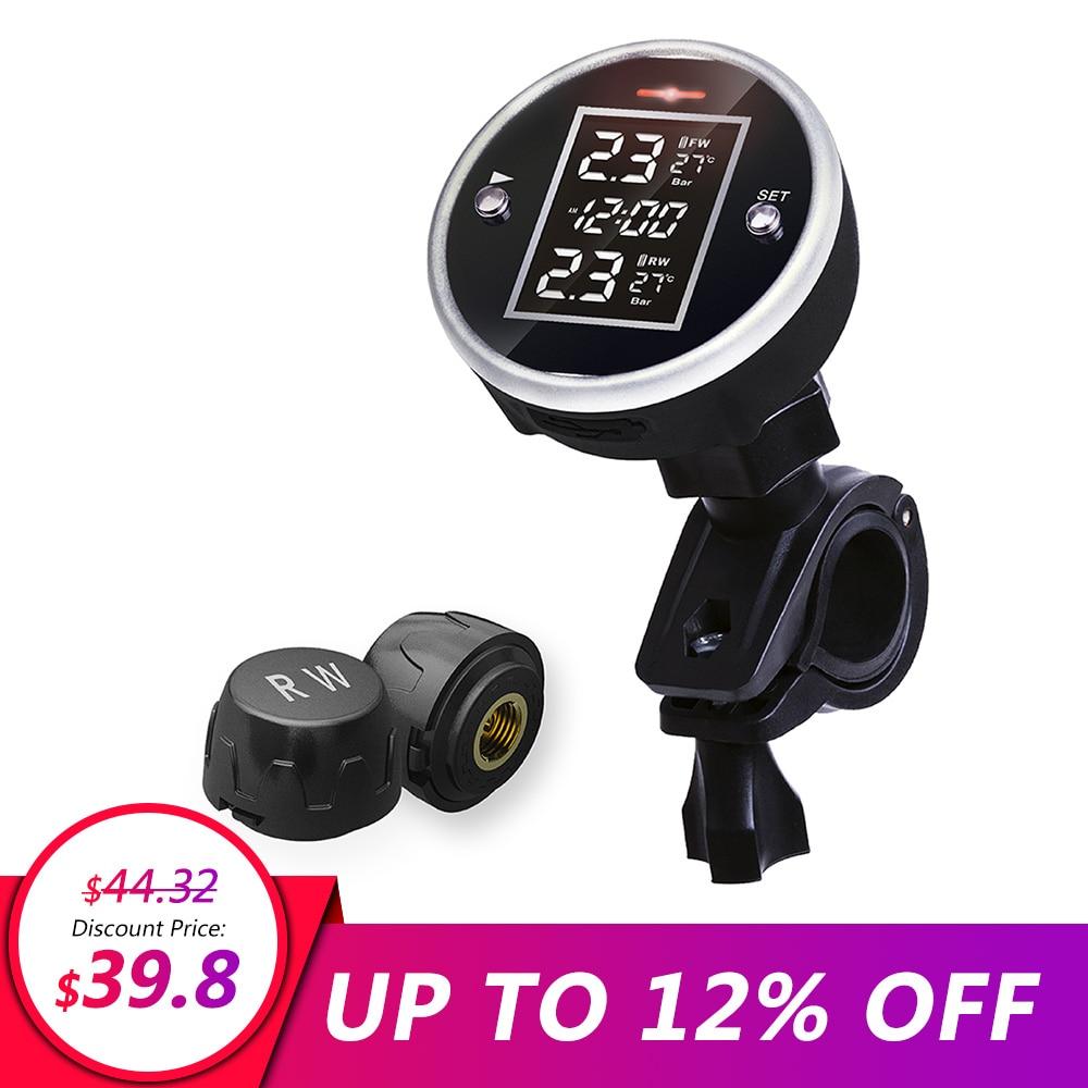 Universal Wireless Motorcycle TPMS Tire Pressure With Time Display Motorcycle Tire Pressure Sensor 2 External Sensors