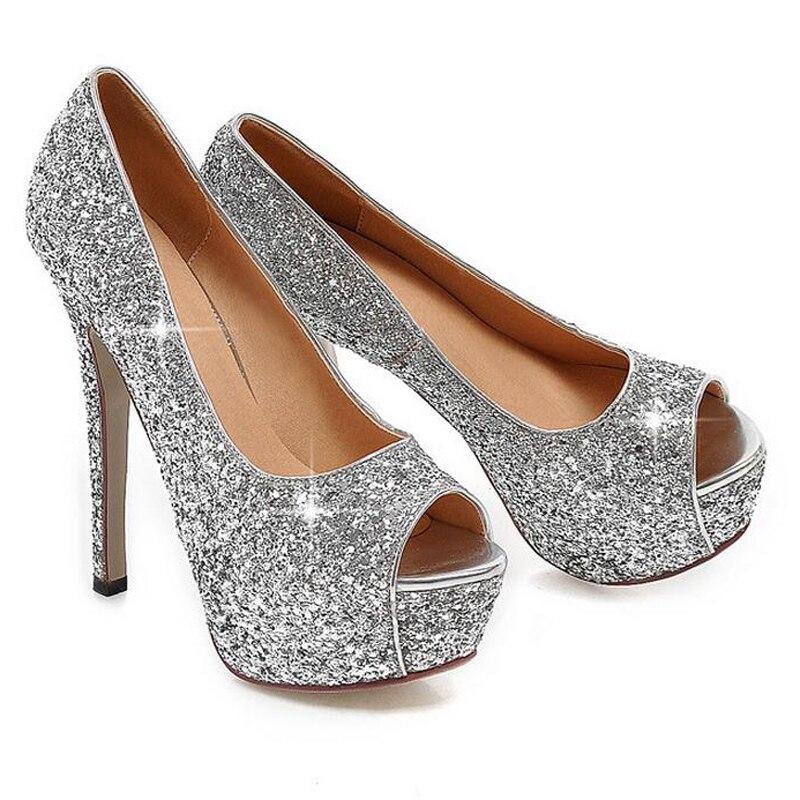 Chaussures de mariage argentées Fashion femme 6LT4sd