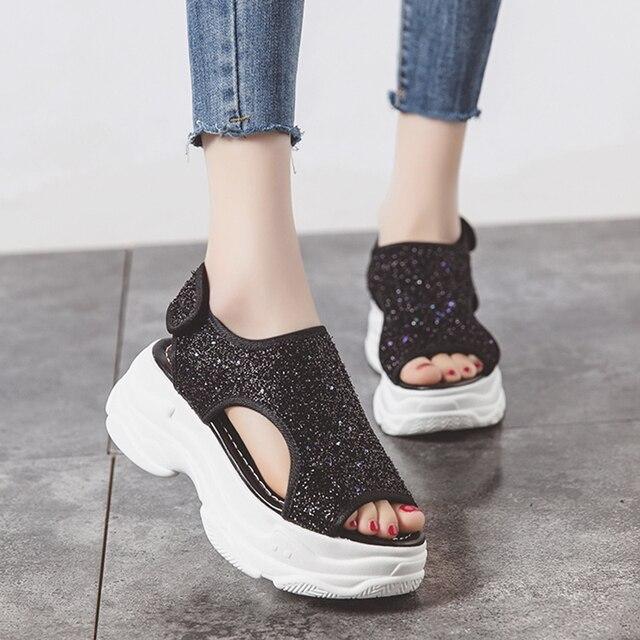 Para Señora Zapatos Suaves Sandalias Encaje Abierta Mujer Plataforma Nuevas Planas Plata 47 Sin Punta A1 De Creepers Caminar Con UMGqLSVjzp