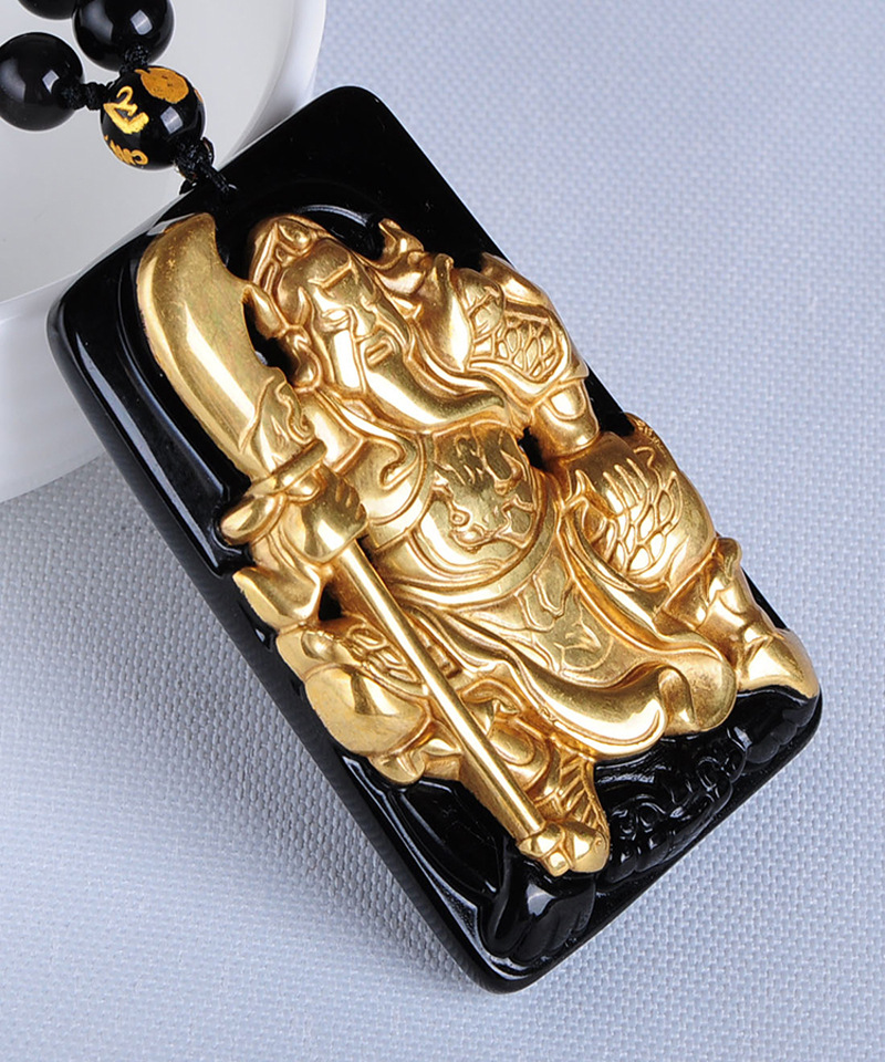 все цены на Free shipping Free shipping Natural gold inlaid obsidian duke guan necklace pendant with rope wholesale
